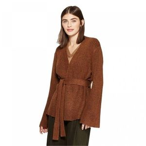 Prologue Long Sleeve Belted Rib-Knit Cardigan
